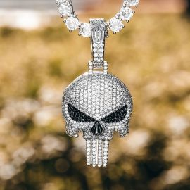 Iced Evil Skull Pendant in White Gold