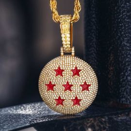 Iced Seven-Star Ball Pendant in Gold