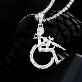 Iced Wheelchair Man Pendant in White Gold