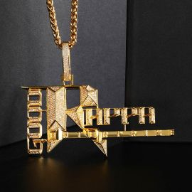 Iced Popular Records Pendant in Gold