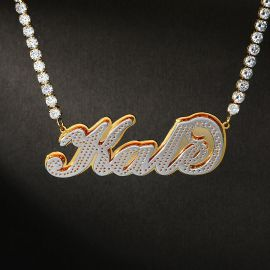 Custom Two-Tone Letters Pendant with Tennis Chain