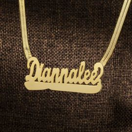 Custom Name Letters Pendant with Herringbone Chain in Gold