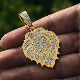 Lion Head Pendant in Gold