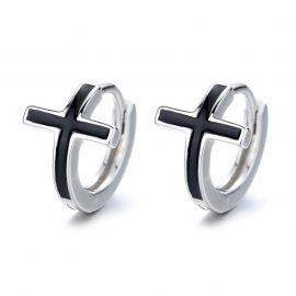 Black Cross Hoop Earrings in White Gold