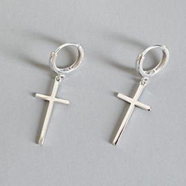 Slim Cross Dangle Earrings in White Gold