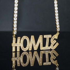 Iced Custom Baguette Letters Pendant with Chain in Gold
