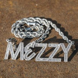 Iced Custom Baguette Letters Pendant with 5mm 24