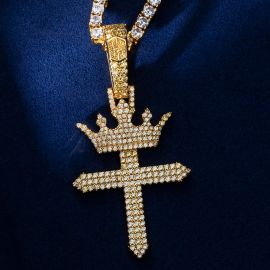 Iced Cross with King Crown Pendant in Gold