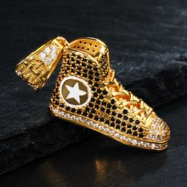 Iced Fashion Shoes Pendant in Gold