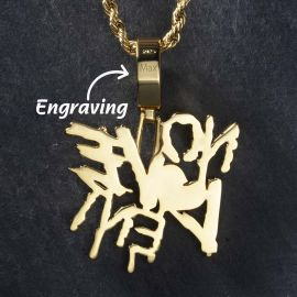 Iced NO LOVE ENT Pendnat in Gold