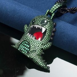 Iced Angry Dinosaur Pendant in Black Gold