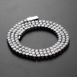 3mm Tennis Necklace in White Gold for Women