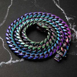 "10mm 24"" Rainbow Miami Cuban Link Chain"