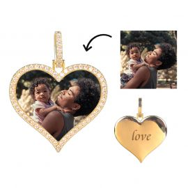 Custom Iced Heart Shape Photo Pendant in Gold