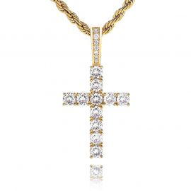 Women's Iced Cross Pendant in Gold
