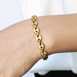 """7mm 8"""" Coffee Bean Bracelet in Gold"""