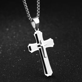 Multilayers 3D Stainless Steel Cross Pendant