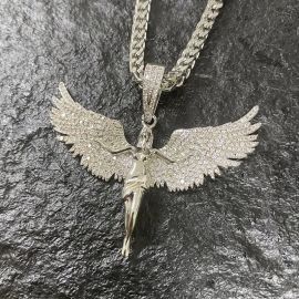 Iced Angel Pendant in White Gold