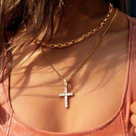 Women's Iced Cross Pendant in Gold