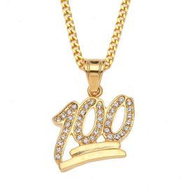 Iced 100 Points Emoji Pendant in Gold