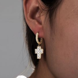Iced Princess Cut Cross Drop Earring