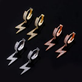 Iced Lightning Bolt Drop Earrings