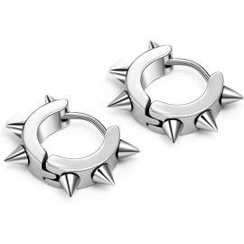 Stainless Steel Punk Rivet Hoop Earrings
