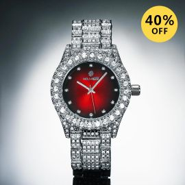 Iced Fashion Red Dial Men's Watch in White Gold