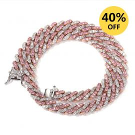 8mm White&Pink Two Tone Cuban Link Chain