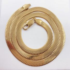 6mm Titanium Steel Herringbone Chain in Gold
