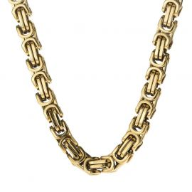 8mm Titanium Steel Byzantine Chain in Gold