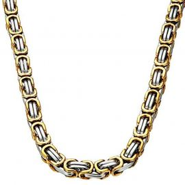 8mm Gold & Silver Titanium Steel Byzantine Chain