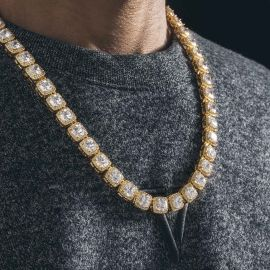 10mm Clustered Tennis Chain in Gold
