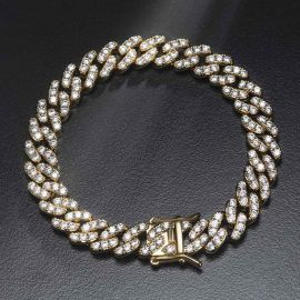 Iced 8mm Cuban Link Bracelet in Gold