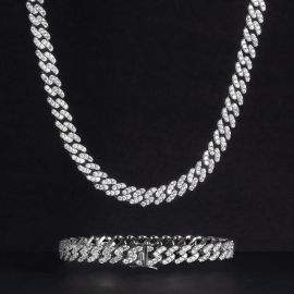 Iced 8mm Cuban Link Chain Set in White Gold