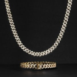 Iced 8mm Cuban Link Chain Set in Gold