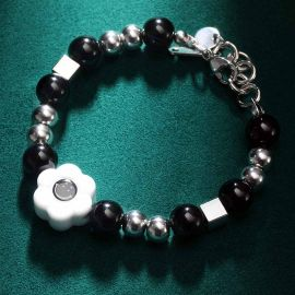 Black Smile Face Charms with Musical Note Bracelet