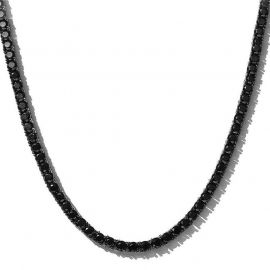 5mm Black Stones Tennis Chain in Black Gold