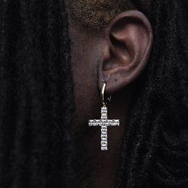 Iced Cross Earring in White Gold