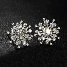 Iced Snowflake Stud Earrings