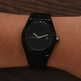 39mm Full Black Iced  Black Dial Stainless Steel Watch