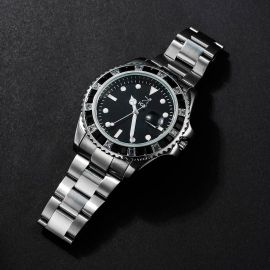 40mm Black Iced Black Dial Watch in White Gold