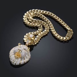 Iced Roaring Lion Pendant with 8mm Cuban Link in Gold