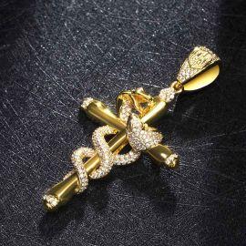 Double Twisted Snake Cross Pendant
