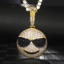Iced Sunglasses Emoji Pendant in Gold