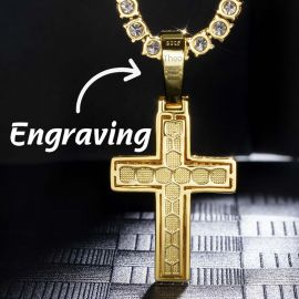 Iced Religious Cross Pendant in Gold