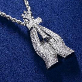 Iced Praying Hands with Cross Pendant