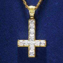 Upside Down Cross Pendant in Gold