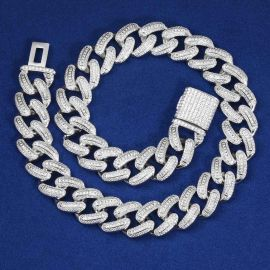 Iced 20mm Square and Round Stones Cuban Link Chain in White Gold