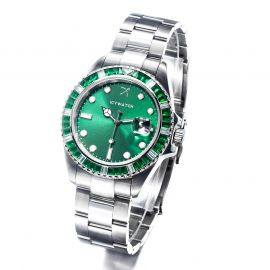 40mm Green Iced Green Dial Watch in White Gold